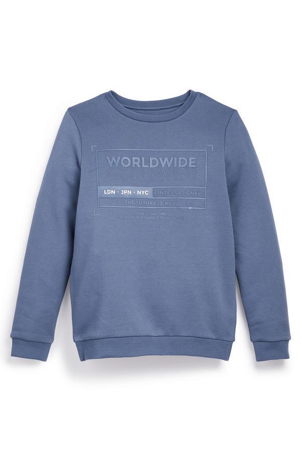 Blauwe jongenssweater met ronde hals en tekst Worldwide