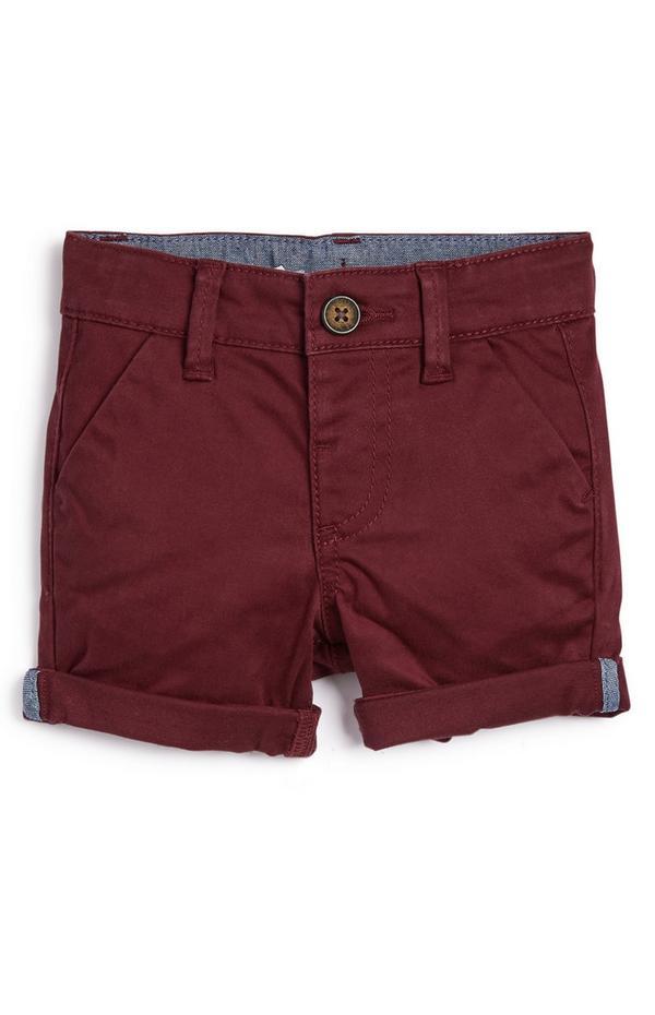 Bordo rdeče raztegljive chino kratke hlače za dojenčke