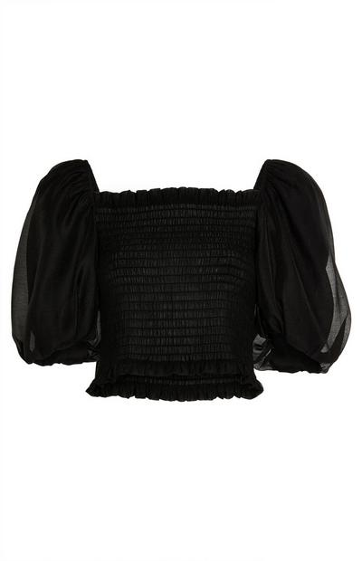 Black Sheer Puffed Sleeve Top