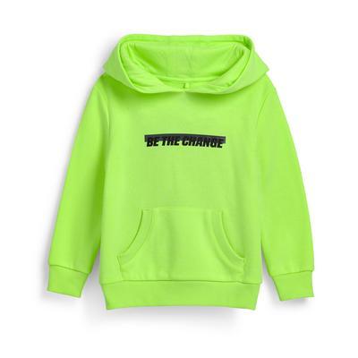 Neongroene hoodie met tekst, jongens