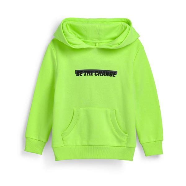Younger Boy Neon Green Slogan Pullover Hoodie