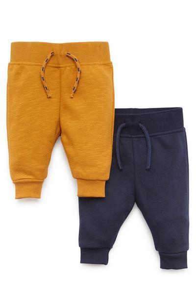Baby Boy Mustard And Navy Joggers 2 Pack