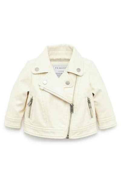 Baby Girl Ivory Faux Leather Biker Jacket