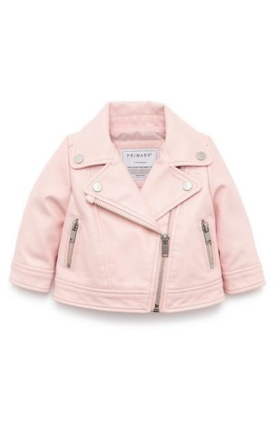 Baby Girl Pink Faux Leather Biker Jacket
