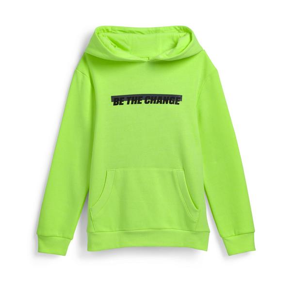 Older Boy Neon Green Slogan Pullover Hoodie