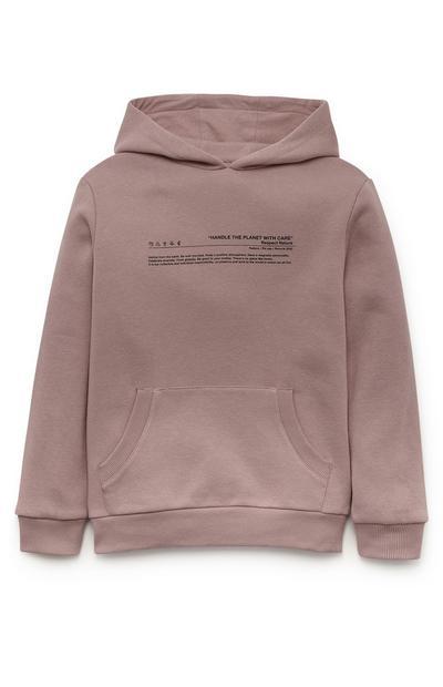Poederroze hoodie Planet voor jongens