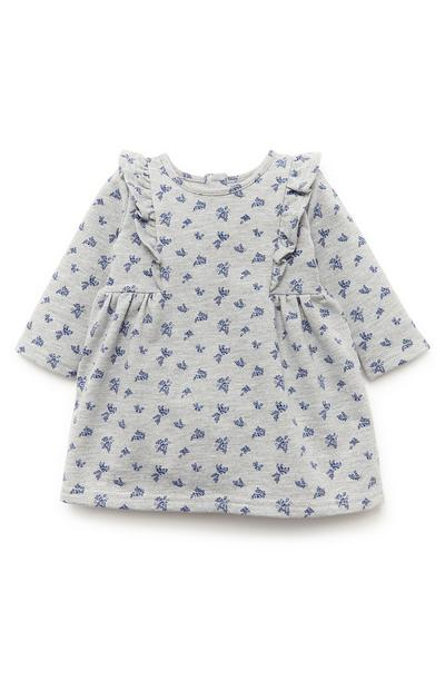 Robe sweat-shirt grise à motifs bébé fille