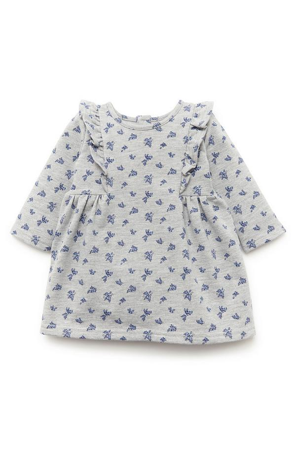 Baby Girl Gray Print Sweat Dress