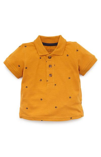 Baby Boy Mustard Paw Print Polo