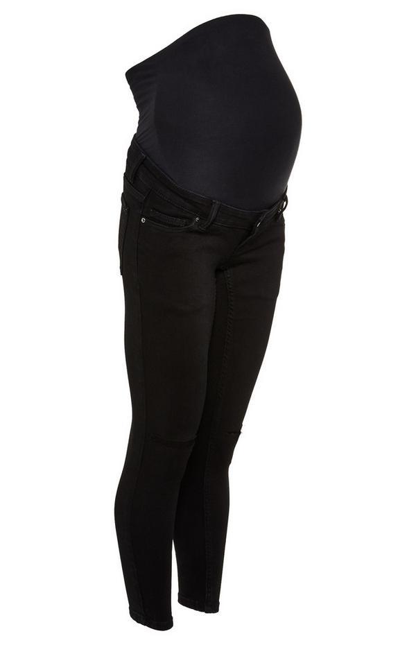 Schwarze Skinny Umstandsjeans mit Überbauch-Bund