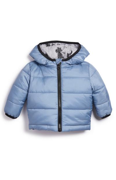 Baby Boy Blue Padded Dog Print Coat