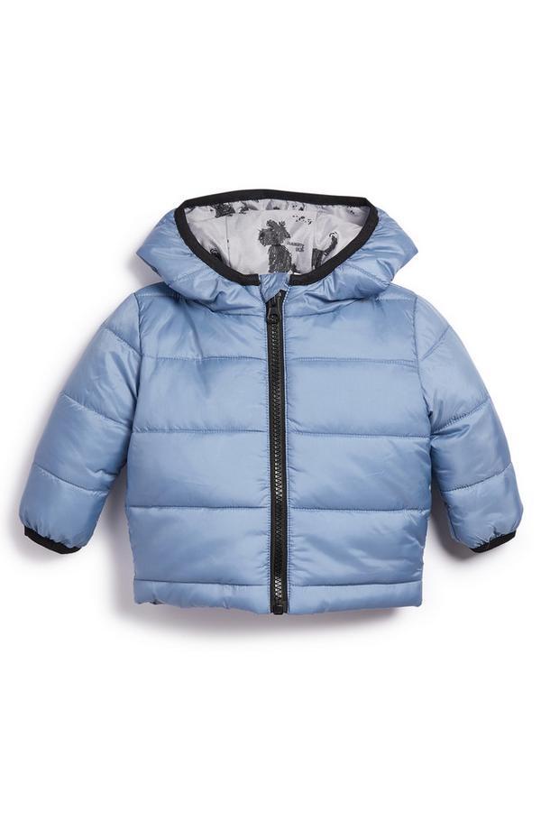 Baby Boy Blue Padded Dog Print-Lined Coat