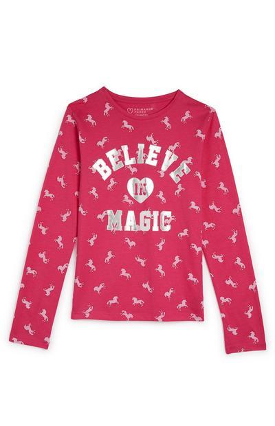 Maglia rosa a maniche lunghe con stampa unicorni e scritta Believe In Magic da ragazza