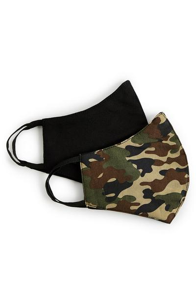 Camo Print And Plain Black Face Masks 2 Pack