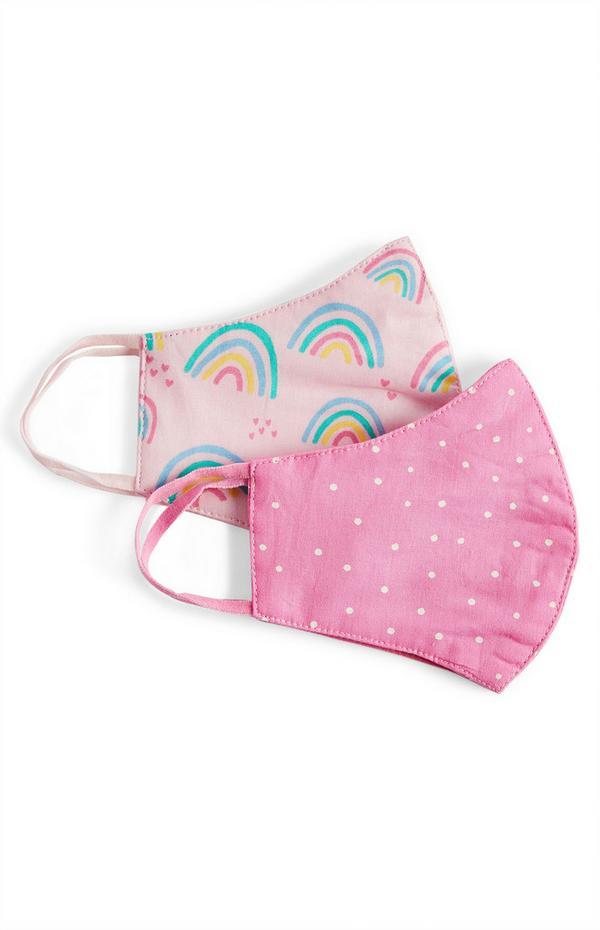 Pack de 2 mascarillas rosas con lunares y arcoíris