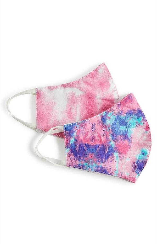 2-Pack Pink Marble Effect Face Masks