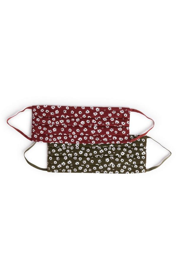 Woven Maroon and Khaki Face Coverings 2 Pack