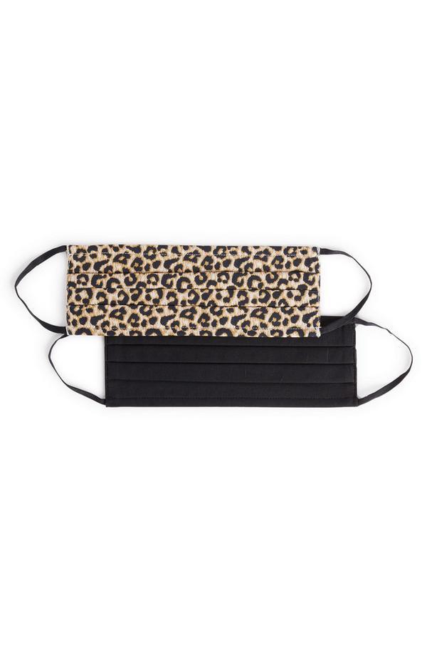 Paquete de 2 mascarillas de tela negra y con estampado de leopardo