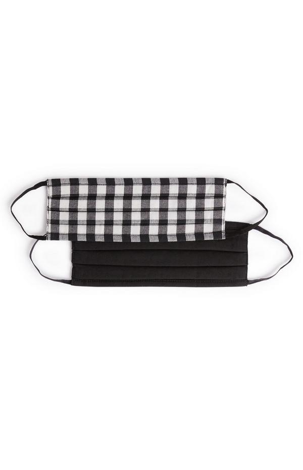 Lot de 2masques en tissu à carreaux noir et noir/blanc