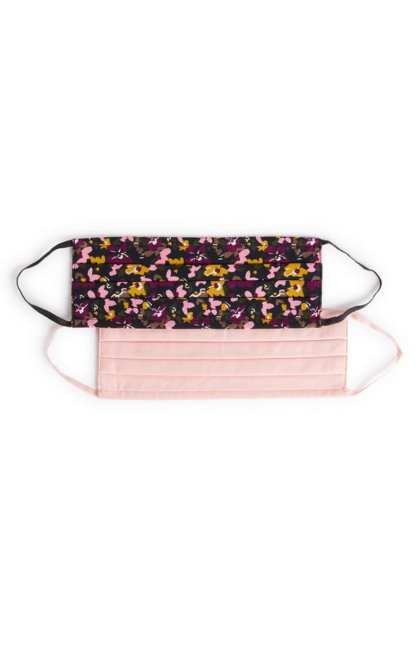 Pack de 2 mascarillas de tela con estampado de flores y color rosa
