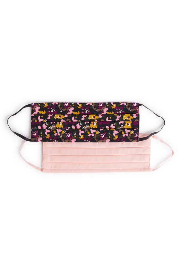 Pack 2 máscaras sociais tecido padrão floral/cor-de-rosa