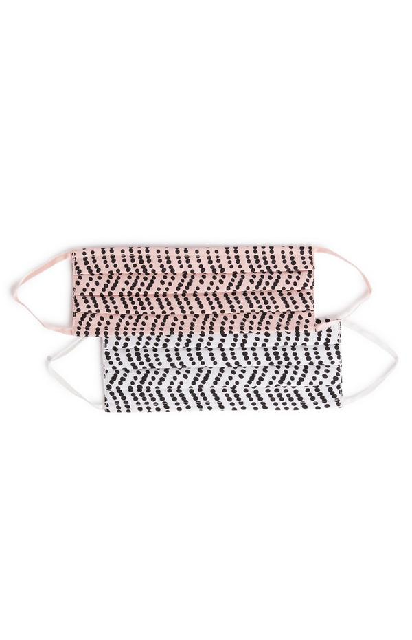 Woven Pink and White Printed Face Coverings 2 Pack