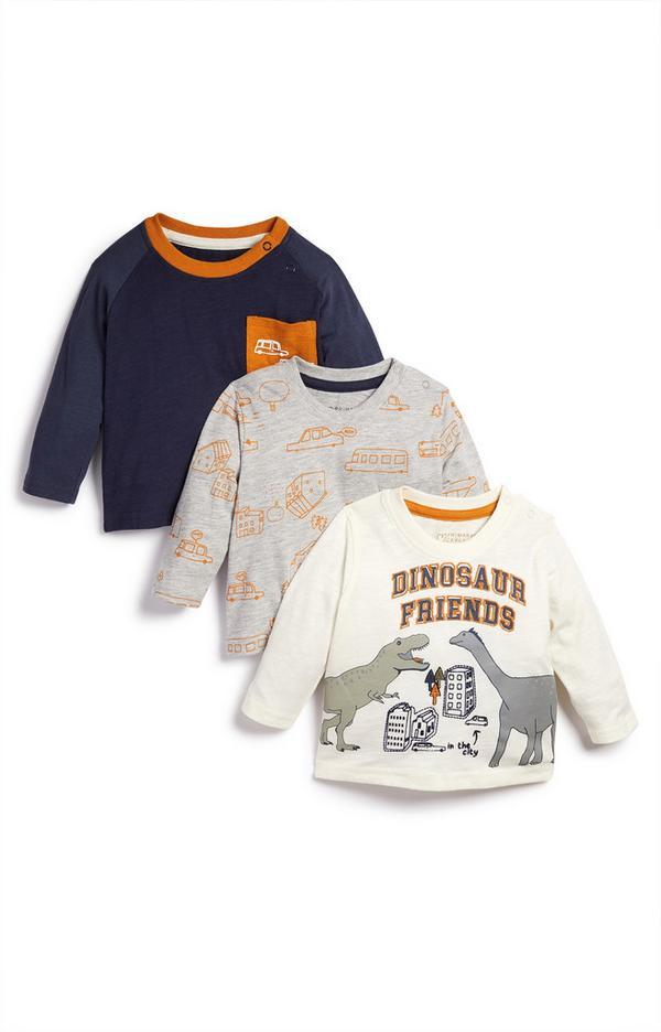 3-Pack Baby Boy Dinosaur Friends T-Shirts