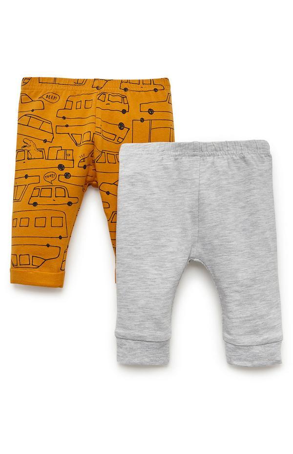 Baby Boy Mustard And Grey Transport Leggings 2 Pack