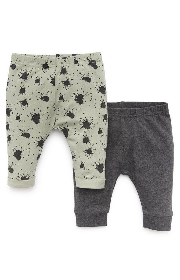 Leggings in Grün/Grau für Babys (J), 2er-Pack
