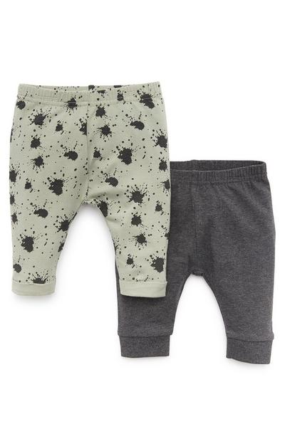 Baby Boy Green And Grey Leggings 2 Pack