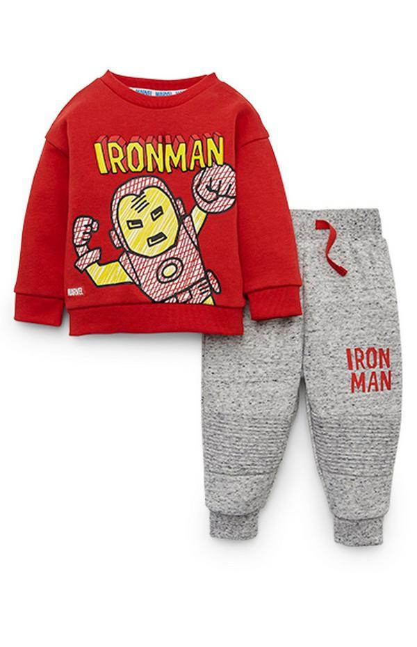 Baby Boy Disney Iron Man Red Sweatshirt And Gray Joggers Set
