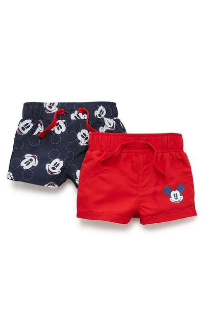 Baby Boy Red And Navy Disney Mickey Mouse Shorts 2 Pack
