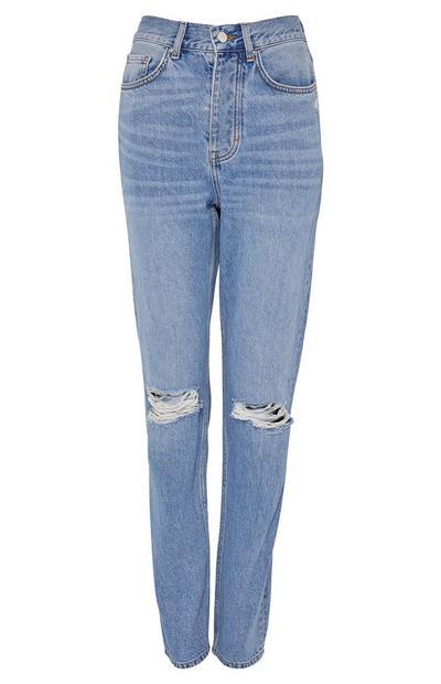 Lichtblauwe stonewash jeans met scheuren en hoge taille