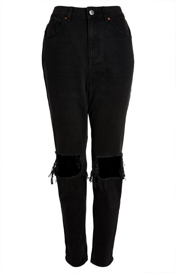 Black Slim Ripped Mom Jeans