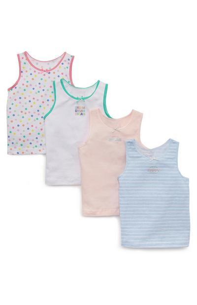 Pack de 4 camisetas de tirantes de lunares Dream para niña