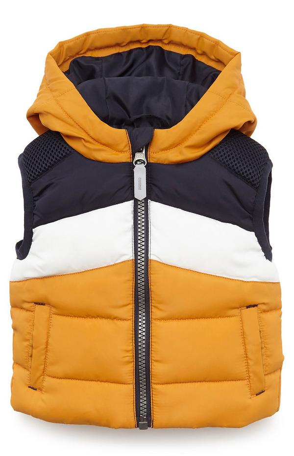 Baby Boy Mustard Color Block Hooded Padded Vest