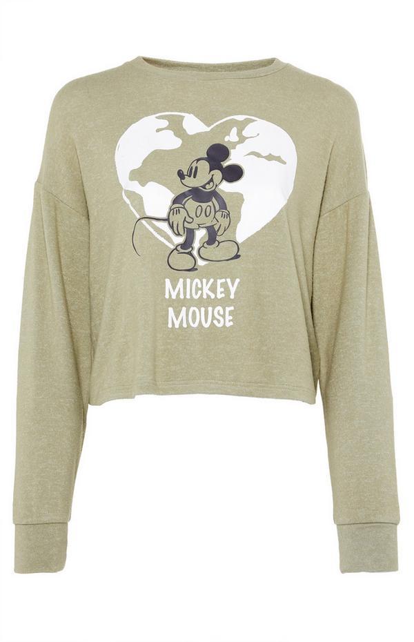 Primark Cares Featuring Disney Mickey Khaki Crop Top