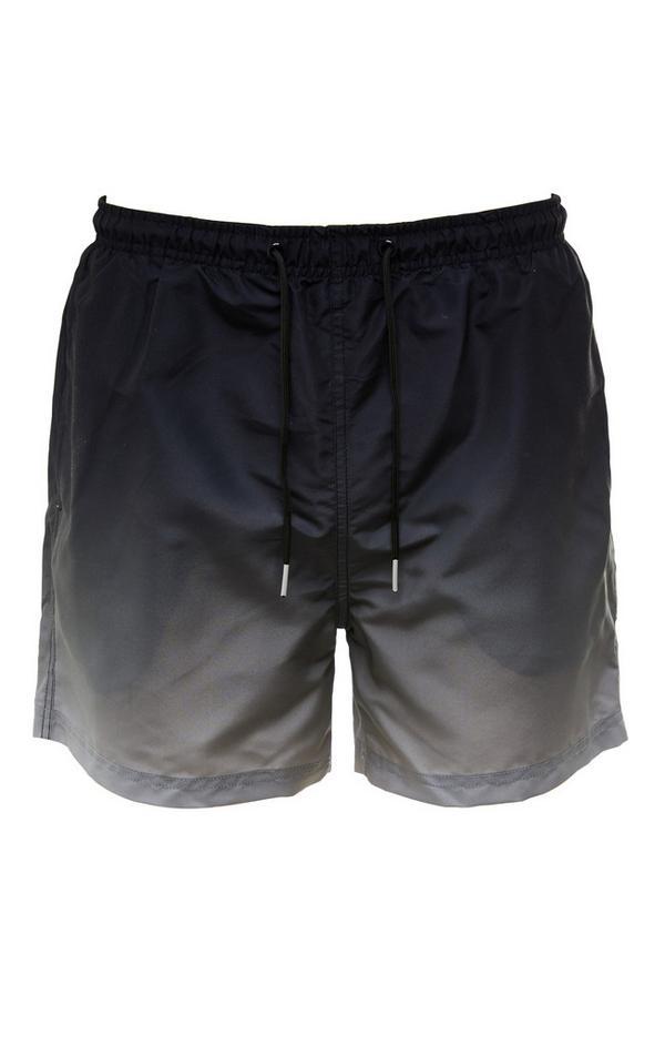 Pantalón corto negro con cordón de ajuste y efecto degradado