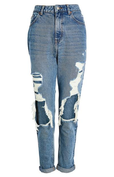 Blue Wash Extreme Ripped Mom Jeans