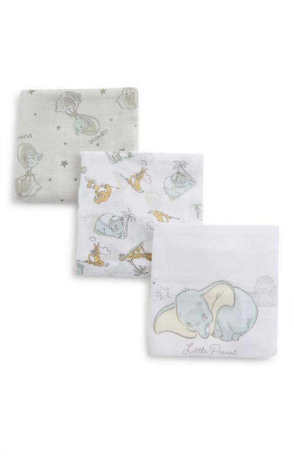 White Disney Dumbo Print Baby Muslins 3 Pack