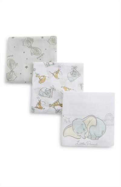 3-Pack Multi Disney Dumbo Print Baby Burp Cloths