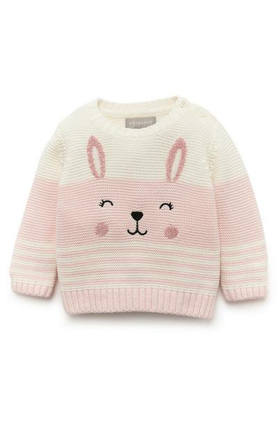 Baby Girl White And Pink Novelty Bunny Jumper