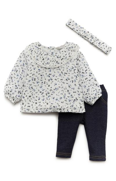 Baby Girl White Floral Blouse And Jegging Set