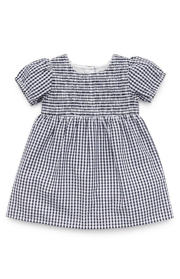 Marineblaues Seersucker-Kleid mit Vichykaros für Babys (M)
