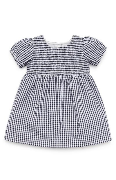 Mornarsko modra dekliška karirasta obleka iz krepa za dojenčke