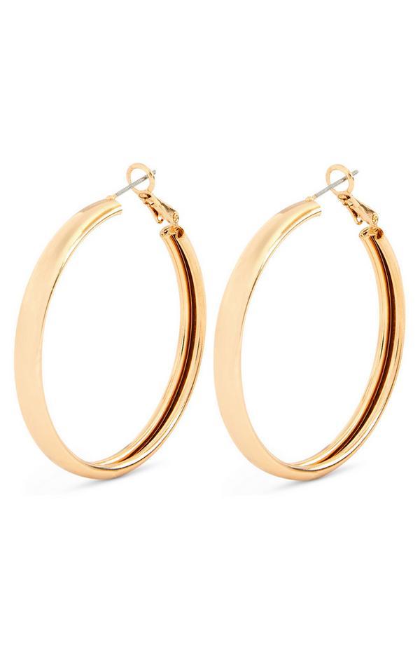 Clean Large Goldtone Hoop Earrings