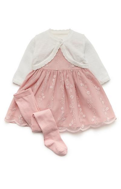 Baby Girl Embellished Blush Pink Mesh Occasion Dress Cardigan And Leggings Set