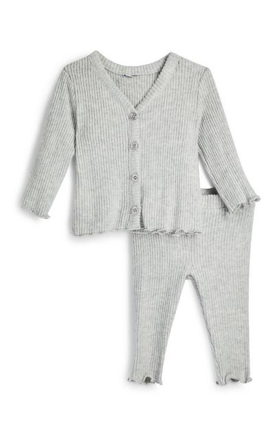 Baby Girl Gray Ribbed Super Soft Leggings And Cardigan Set