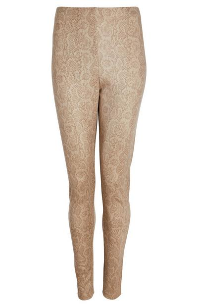 Beigefarbene Leggings in Wildleder-Optik