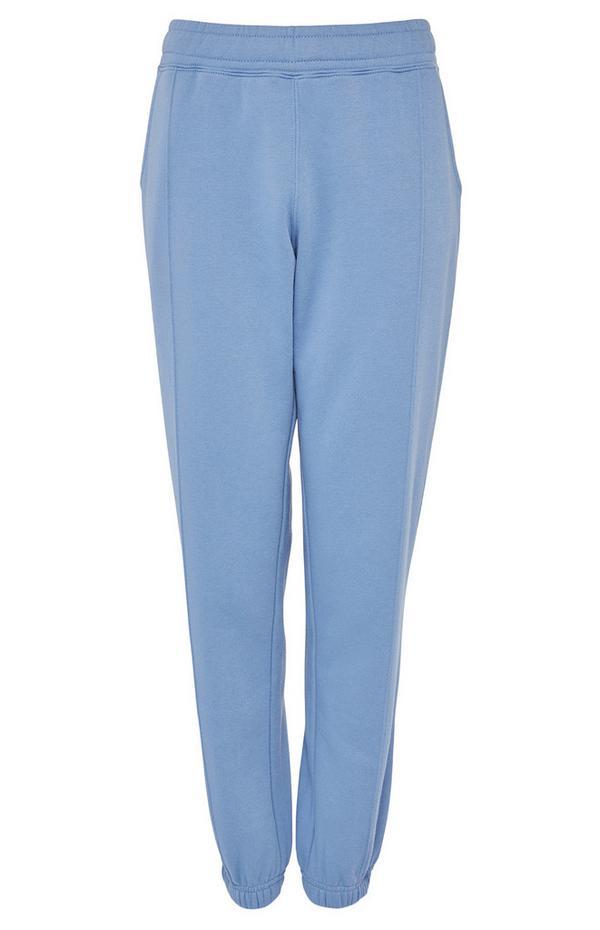 Blauwe joggingbroek met elastische taille en gepaspelde naad